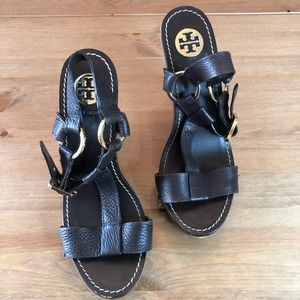 Tory Burch Brown Leather Wedge Sandal 8